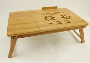 Folding Laptop Table Computer Desk Desktop Stand Adjustable Bed Study Bamboo