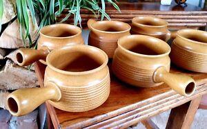 Langley Mill Pottery soup bowls x6, mint.