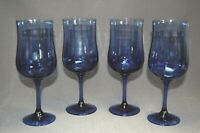 4PC Cobalt Blue Glass Tall Stem Wine Glasses