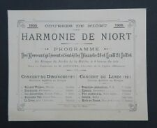 Carte d'invitation Courses de NIORT juillet 1905 concert Deux-Sèvres