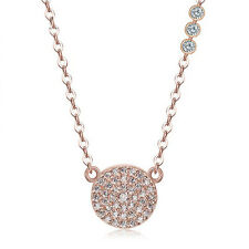 "Sterling Silver .925 CZ Rose Gold Pave Fashion Pendant Necklace With 16"" Chain"