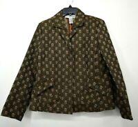 Sag Harbor Women's Brown Black Print Notch Button Front Floral Lapel Jacket 14