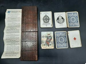 Antique Cribbage Board W/ Andrew Dougherty Cards / Bicycle Trade Card Counter