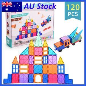 120PCS Kids Magnetic Tiles 3D Set Building Blocks Toy Construction Play AU Stock