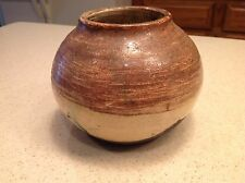 Vintage  Brown and White Glaze On Black Clay Signed Sampson? 75' Bowl/ Vase