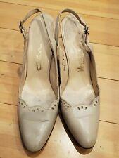 Vintage 1960's Bone Leather Sling Back Heels Shoes Manor Bourne Magnin Size 8