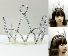 Lot of 10 Dance Costume SILVER Tiaras Wired Beaded Ballet Princess Crown Play