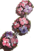 Handmade Lampwork Glass Bead Raised Red Purple Flower 15mm Lentil 4 Beads #a29a