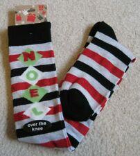 K. BELL- Womens Christmas Socks-Noel-Over The Knee-Size 9~11-Shoe Size 4~10-NEW