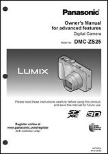 Panasonic Dmc-Zs25 Advanced Digital Camera User Guide Instruction Manual