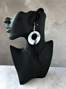 Grey Hoop Earrings Marble Design 7 cms Drop Dangle Lightweight