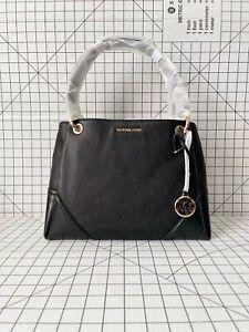 Michael Kors Nicole Large Shoulder Tote Pebbled Leather Bag In Black