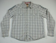 Vintage Red Button Down Shirt Gray Plaid Scroll Design Pearl Snaps Mens Size XL