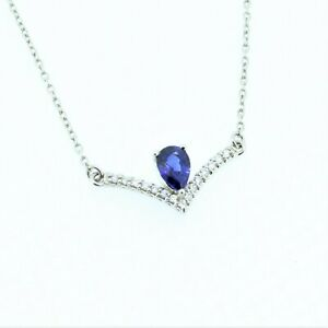Platinum Sapphire and 0.08 CTW Diamond Chevron 16IN Necklace- NEW Retail $1750