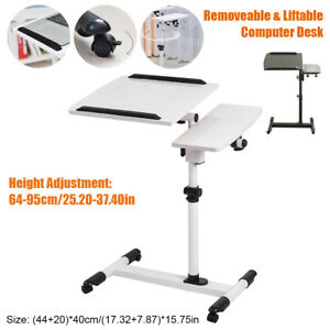 Rolling Height Angle Adjustable Laptop Sofa Desk Overbed Food Tray Table Stand@