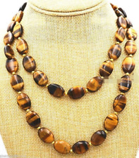 """Beautiful Natural Tiger Eye 13x18mm Oval Gemstone Jewelry Necklace 36 """" AA+"""