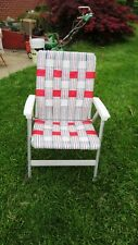 VINTAGE ALUMINUM Folding WEBBED LAWN BEACH Patio Chair Red White Gray High Back