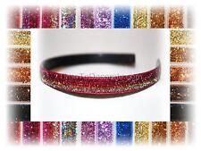 """New GLITTER shiny ribbon HEADBAND with teeth 3/8"""" wide custom"""
