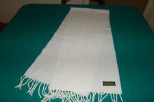 Sciarpa bianca, lana lambswool 100%, 32 cm x 144 cm, usata