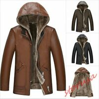 Mens Winter Thick Fleece Lining Leather Jacket Removable Hooded Casual Warm Coat