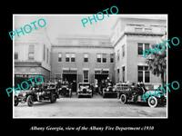OLD LARGE HISTORIC PHOTO OF ALBANY GEORGIA, THE FIRE BRIGADE DEPARTMENT c1930