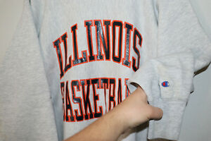 Champion Reverse Weave Illinois Basketball Vintage Sweatshirt Large L 1980s 80s