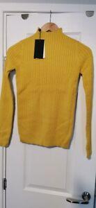 Fashion Union Knitted Mustard Yellow Jumper High Neck Tall UK 10 EU 38