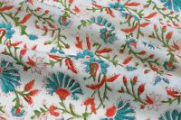 Sanganeri Indian Hand Block Floral Running Print 100% Cotton Fabric By Yard Art