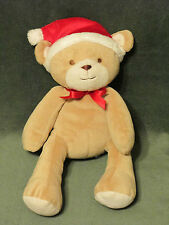 Carters Just One Year Teddy Bear Plush Tan with Santa Hat Red Bow GUC # 91473