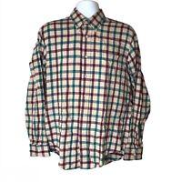 Vintage 90s American Eagle Flannel Button Down Shirt Thin Lightweight Plaid Sz L