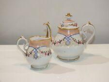+ Verseuse et pot à lait porcelaine de Paris - fleurs peintes +