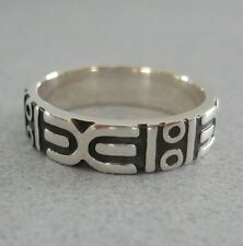 Mexico 925 Silver Taxco Oxidized Etched Aztec Mayan Design Unisex Ring Band Sz 8