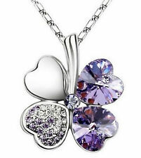 Clover Necklace Pendant Four Leaf Purple Crystal White Gold Plated Necklace