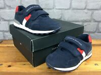 TOMMY HILFIGER BOYS UK 10 EU 28 NAVY BLUE RED CLASSIC 2 STRAP TRAINERS CHILDRENS