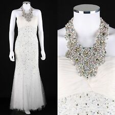 JOVANI WHITE SILK BEADED JEWEL HALTER FORMAL PROM PAGEANT WEDDING DRESS GOWN 2