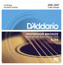 D'addario EJ38 Phos Bronze XII Acoustic Guitar Strings (Nouveau)
