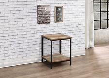 Birlea Urban Industrial Chic Lamp Table with Shelf Square Wood Black Metal