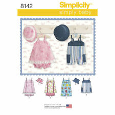 Simplicity Sewing Pattern 8142 Baby Boys/girls Xxs-l Rompers Pinafore Dress Hat