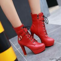 Women's Round Toe Stilettos High Heels Platform Ankle Boots Buckle Lace Up Shoes