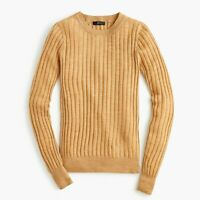 NWT J.Crew Tippi Sweater In Ribbed Merino Wool Heather Camel Size S