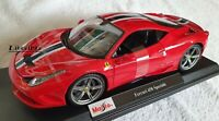 MAISTO 1:18 Scale Diecast Model Car  Ferrari 458 Speciale in Red
