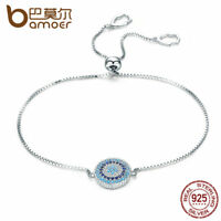 Bamoer S925 Sterling Silver Bracelet with Blue& Clear CZ Charm For Women Jewelry