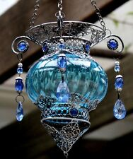 Turkish style  Hanging Tea light Candle Holder   ( BLUE )  BRAND NEW