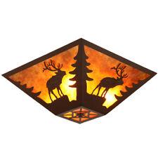 Rustic Amber Mica Shade 3-Light Flush Mount Ceiling Light Deer Pattern in Rust