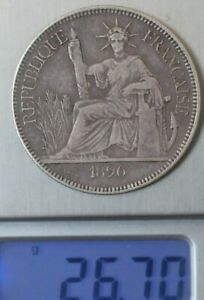 1896 French  antiques silver Trade Dollar