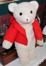 "Vtg 19"" Handmade Teddy Bear Plush Ivory Hand Stitched Stuffed Animal, Red Jacket"