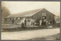 WW1 MILITARY SHELTER CAMPAIGN FIELD BREAK TIME ANTIQUE PHOTO POSTCARD RPPC