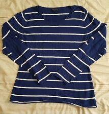 Woman's Blue & White Banana Republic lightweight Sweater (Size XL) Elbow Patches