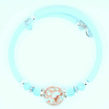 Light Blue and Bronze Murano Handmade Glass Bead Bracelet from Venice