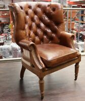 DECONSTRUCTED CHESTERFIELD HIGH BACK WING CHAIR VINTAGE DISTRESSED BROWN LEATHER